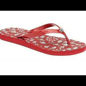 Coach Abbigail Floral Rubber Flip Flops, Red